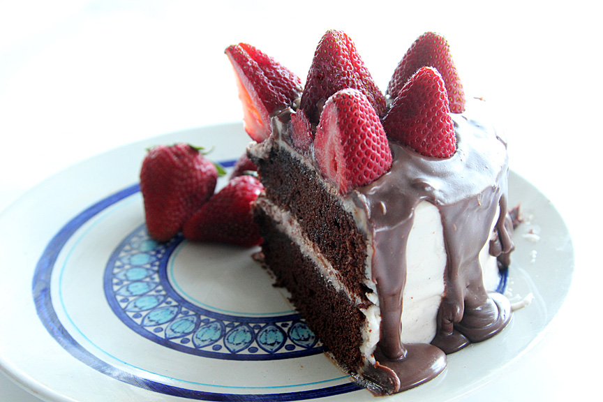 Strawberry Topped Chocolate Birthday Cake